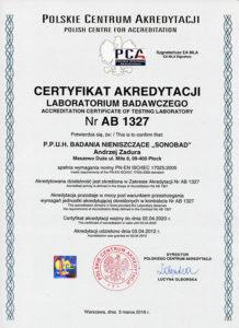 Akredytacja PCA - certyfikat