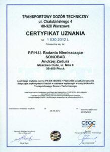 TDT - certyfikat